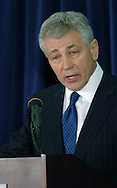 3/12/07 Omaha NE Nebraska Senator Chuck Hagel makes the announcement that he is waiting to decide about running for President at the University of Nebraska  at Omaha. (photo by Chris Machian/ Prairie Pixel Group)