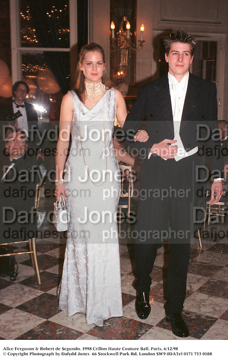 Alice Ferguson & Robert de Segundo. 1998 Crillon Haute Couture Ball. Paris. 6/12/98<br />