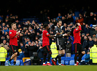 Football - 2019 / 2020 Premier League - Everton vs. Manchester United<br /> <br /> Manchester United David De Gea and his team mates applaud their travelling fans at the final whistle, at Goodison Park.<br /> <br /> COLORSPORT/ALAN MARTIN