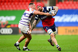 Aly Muldowney of Bristol Bears is challenged by Ellis Genge of Leicester Tigers - Mandatory by-line: Dougie Allward/JMP - 01/12/2018 - RUGBY - Ashton Gate Stadium - Bristol, England - Bristol Bears v Leicester Tigers - Gallagher Premiership Rugby