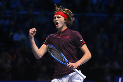 November 16, 2017 - London, England, United Kingdom - Germany's Alexander Zverev reacts during his men's singles round-robin match against US player Jack Sock on day five of the ATP World Tour Finals tennis tournament at the O2 Arena in London on November 16 2017  (Credit Image: © Alberto Pezzali/NurPhoto via ZUMA Press)