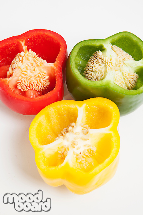 Cross section of different colored bell peppers