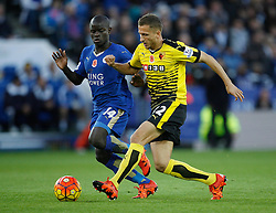 Ngolo Kante of Leicester City (L) and Almen Abdi of Watford in action  - Mandatory byline: Jack Phillips/JMP - 07966386802 - 7/11/2015 - SPORT - FOOTBALL - Leicester - King Power Stadium - Leicester City v Watford - Barclays Premier League