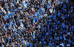 Manchester City fans gather for the trophy parade in Manchester.
