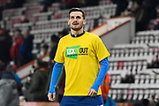 Pascal Gross (13) of Brighton and Hove Albion wearing a Kick It Out shirt during the warm up ahead of the Premier League match between Bournemouth and Brighton and Hove Albion at the Vitality Stadium, Bournemouth, England on 21 January 2020.