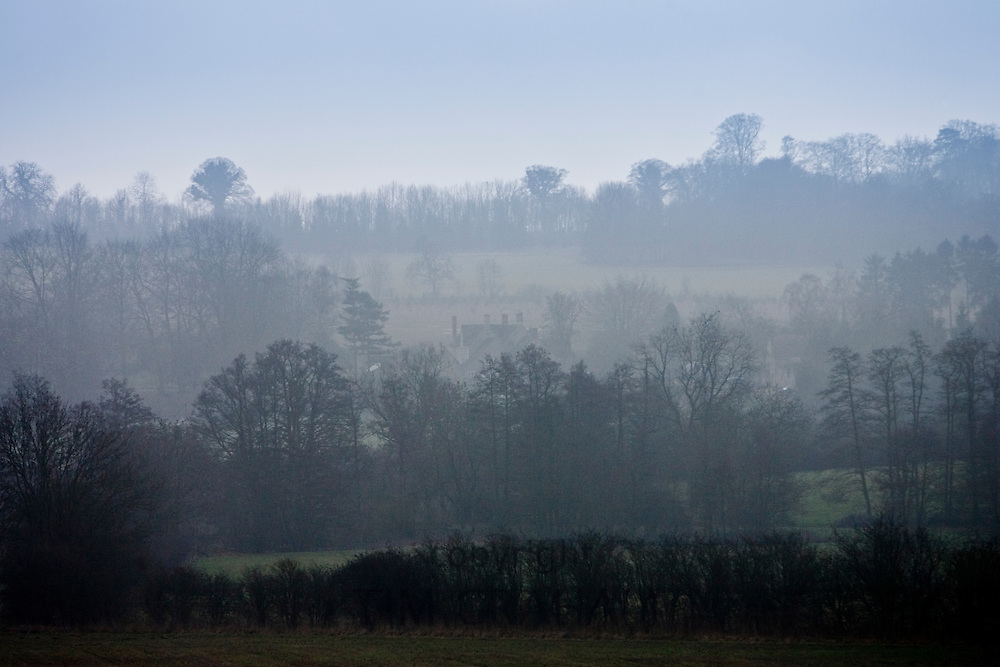 Oxfordshire landscape in fog, United Kingdom