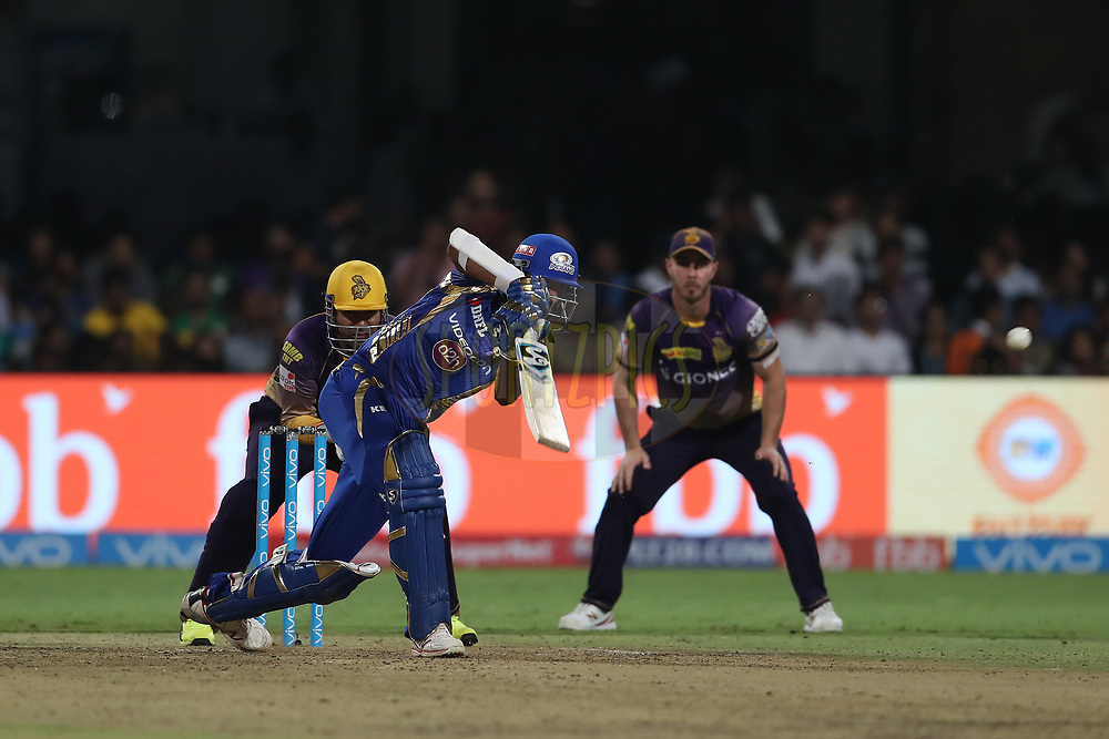 Krunal Pandya of the Mumbai Indians during the 2nd qualifier match of the Vivo 2017 Indian Premier League between the Mumbai Indians and the Kolkata Knight Riders held at the M.Chinnaswamy Stadium in Bangalore, India on the 19th May 2017<br /> <br /> Photo by Ron Gaunt - Sportzpics - IPL