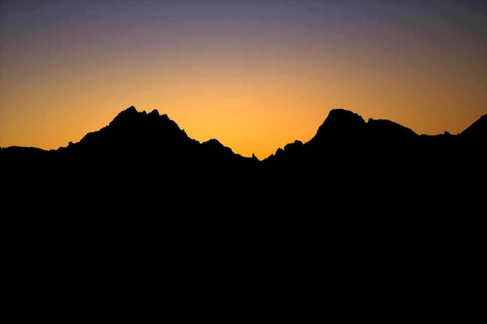 Russia, Caucasus, mountain panorama before sunrise. Seen from Elbrus.