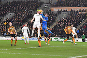 Hull City goalkeeper Allan McGregor (1) takes ball safe from Leeds United defender Pontus Jansson (18) during the EFL Sky Bet Championship match between Hull City and Leeds United at the KCOM Stadium, Kingston upon Hull, England on 30 January 2018. Photo by Ian Lyall.