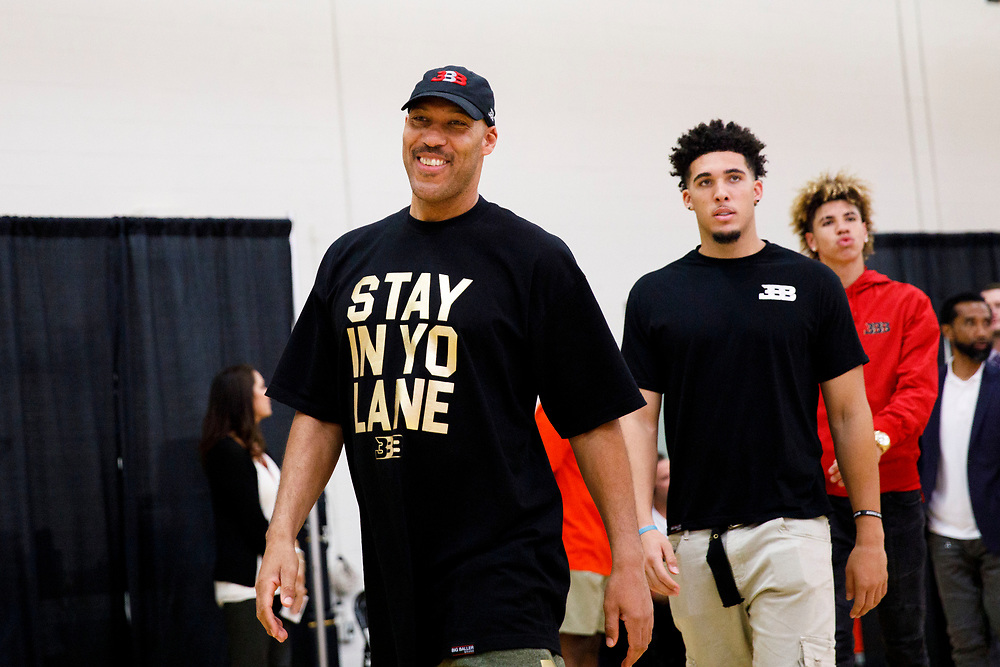 LaVar Ball with sons LiAngelo Ball and LaMelo Ball before the introduction of Lonzo Ball at the Laker's Practice Facility on Friday, June 23, 2017 in El Segundo, California. The Lakers selected Lonzo Ball as the No. 2 overall NBA draft pick. © 2017 Patrick T. Fallon