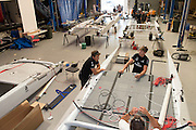Dean Barker and Peter Burling. Emirates Team New Zealand sailors prepare their A Class catamarans for the upcoming National championships  and World championships regattas being sailed at Takapuna in Auckland. 5/2/2014