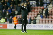Derby County Manager Frank Lampard celebrates at full time during the EFL Sky Bet Championship match between Wigan Athletic and Derby County at the DW Stadium, Wigan, England on 8 December 2018.