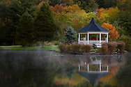 Gazebo at Broyhill Lake in Blowing Rock NC in the fall