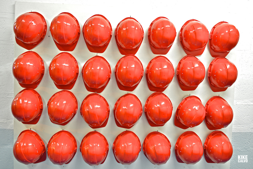 Red protection helmets at CERN
