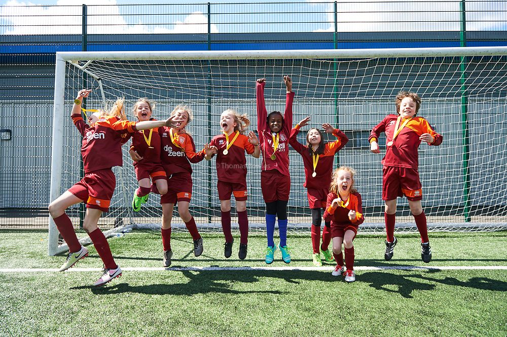 London, 14th May 2017. The first Camden and Islington Youth Football League tournament at Market Road Pitches. for Girls 7-11.