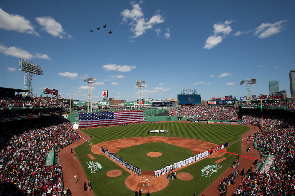Four F16 fighter jets from the Vermont Air National Guard fly over Fenway Park during opening day ceremonies prior to the Boston Red Sox' game against the Tampa Bay Rays at Fenway Park in Boston, Massachusetts, USA on 13 April 2012. The game marks the season home opener for the Red Sox who have won just one game so far this year.