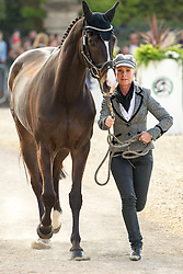 Bettina Hoy (GER) leads Lanfranco TSF for the vet's inspection during the trot up at the 2013 Mitsubishi Motors Badminton Horse Trials. Thursday 02  May  2013.  Badminton, Gloucs, UK..Photo by: Mark Chappell / i-Images
