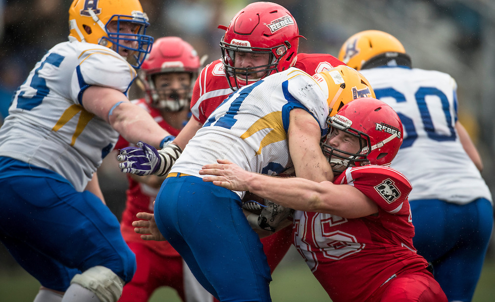 The Saskatoon Hilltops beat the Westshore Rebels 37- 25 in the Canadian Junior Football League Championship game at Westhills Stadium in Langford, British Columbia Canada on November 12, 2016