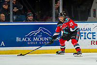KELOWNA, CANADA - NOVEMBER 21: Leif Mattson #28 of the Kelowna Rockets passes the puck against the Regina Pats  on November 21, 2018 at Prospera Place in Kelowna, British Columbia, Canada.  (Photo by Marissa Baecker/Shoot the Breeze)
