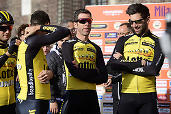 March 18, 2017 - San Remo, Italie - SANREMO, ITALY - MARCH 18 : TANKINK Bram (NED) Rider of Team Lotto NL - Jumbo and LEEZER Thomas (NED) Rider of Team Lotto NL - Jumbo waiting to sign the startlist during the UCI WorldTour 108th Milan - Sanremo cycling race with start in Milan and finish at the Via Roma in Sanremo on March 18, 2017 in Sanremo, Italy, 18/03/2017  (Credit Image: © Panoramic via ZUMA Press)