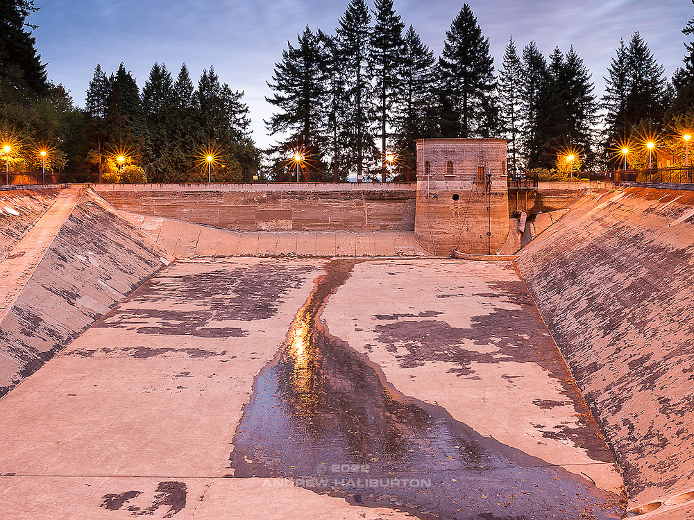 Reservoir 1 (1894) is one of three open reservoirs at Mount Tabor Park and of five total in Portland.  Mount Tabor's three open reservoirs and their ancillary structures were placed in the National Register of Historic Places on January 15, 2004.  The Environmental Protection Agency (EPA) regulation known as the Long Term 2 Enhanced Surface Water Treatment Rule (aka the LT2 Rule) imposes new requirements that open water reservoirs be covered, buried or additionally treated.  This applies to Portland's five open reservoirs and to the unfiltered Bull Run source supplying them.