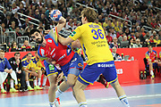 Raul Entrerrios (Spain) and Jesper Nielsen (Sweden) during the EHF 2018 Men's European Championship, Final Handball match between Spain and Sweden on January 28, 2018 at the Arena in Zagreb, Croatia - Photo Laurent Lairys / ProSportsImages / DPPI