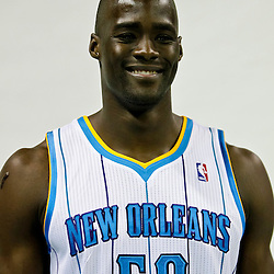 Sep 27, 2010; New Orleans, LA, USA; New Orleans Hornets center Emeka Okafor (50) poses during media day at the New Orleans Arena. Mandatory Credit: Derick E. Hingle