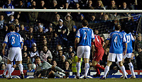 Photo: Glyn Thomas.<br />Birmingham City v Liverpool. The FA Cup. 21/03/2006.<br /> Liverpool's Sami Hyypia (C) gives his side a 1-0 lead.