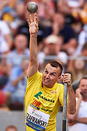 Poland, Warsaw - 2017 August 15: Paralympian Michal Szarfanski from Poland competes in men's shot put during Memorial of Kamila Skolimowska at Stadion PGE Narodowy on August 15, 2017 in Warsaw, Poland.<br /> <br /> Mandatory credit:<br /> Photo by © Adam Nurkiewicz<br /> <br /> Adam Nurkiewicz declares that he has no rights to the image of people at the photographs of his authorship.<br /> <br /> Picture also available in RAW (NEF) or TIFF format on special request.<br /> <br /> Any editorial, commercial or promotional use requires written permission from the author of image.