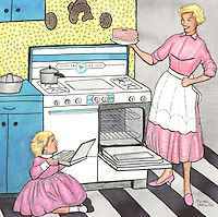 Scene of an old fashioned kitchen with mother baking a cake and daughter playing with her laptop.