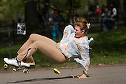 Central Park. New York, New York. United States. May 1st 2005..A roller skater falls in Central Park.