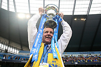 Football - Blue Sq Bet Premier play off final - AFC Wimbledon vs. Luton Town<br /> Wimbledon manager Terry Brown with the trophy at the CIty of Manchester Stadium