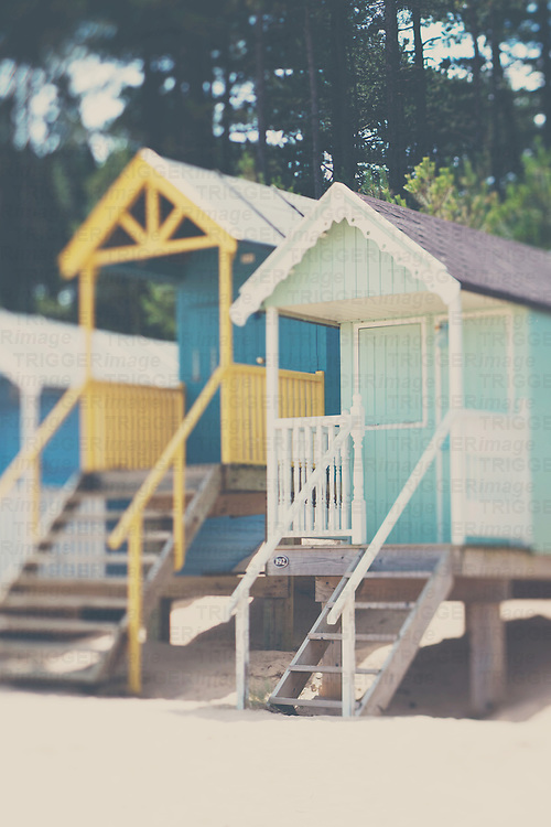 traditional english beach huts in Norfolk