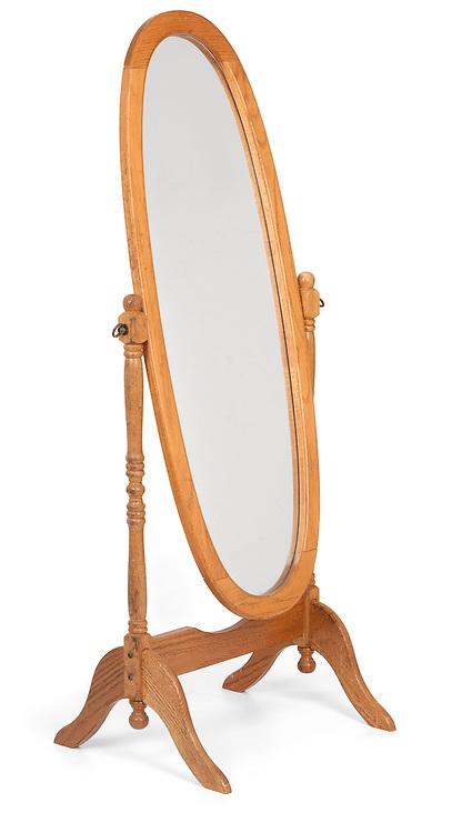 Classic wooden full-length floor mirror shot on white background