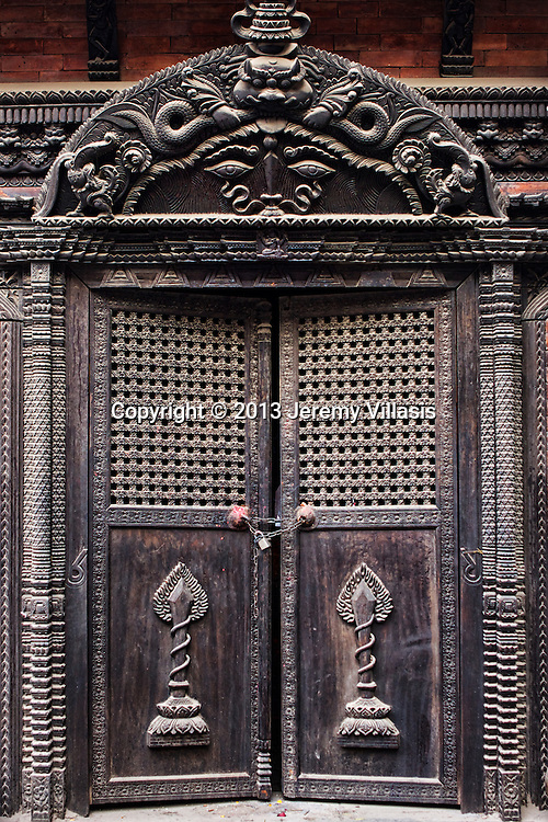 A typical Newari temple door at Thamel in Kathmandu.