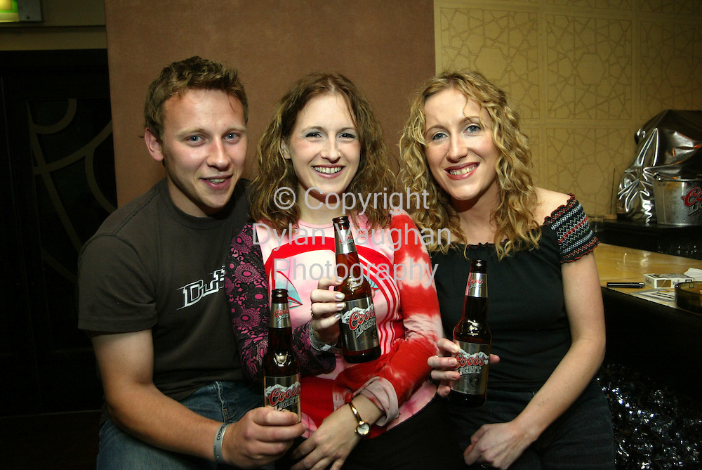 19/7/2003.Pictured at the Coors light Silver Grail night at axis munday was from left Shane Hamm, Carina Knox and Ethel Claffey from Waterford..Picture Dylan Vaughan