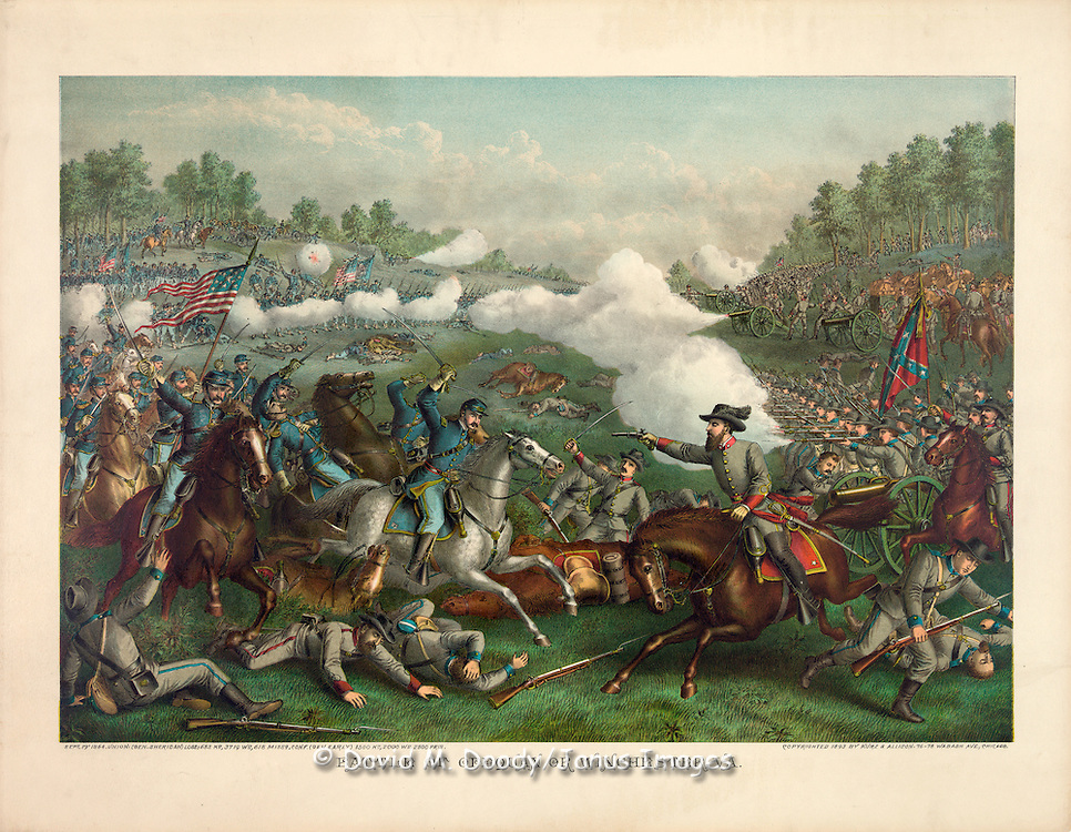 Vintage Illustration: The Civil War Battle of Winchester, Virginia.
