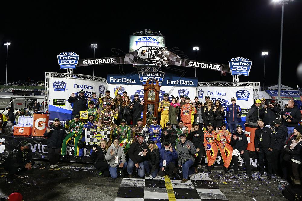 October 29, 2017 - Martinsville, Virginia, USA: Kyle Busch (18) wins the First Data 500 at Martinsville Speedway in Martinsville, Virginia.
