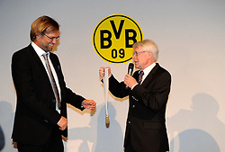 14.05.2011, U-Haus, Dortmund, GER, 1.FBL, Borussia Dortmund Meisterbankett im Bild Präsident Dr. Reinhard RAUBALL, rechts überreicht Trainer Jürgen KLOPP die Meister-Medaille //   German 1.Liga Football ,  Borussia Dortmund Championscelebration, Dortmund, 14/05/2011 .EXPA Pictures © 2011, PhotoCredit: EXPA/ nph/  Conny Kurth       ****** out of GER / SWE / CRO  / BEL ******