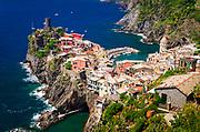 The town of Vernazza from the Sentiero Azzurro (Blue Trail), Cinque Terre, Liguria, Italy