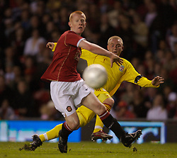 Manchester, England - Thursday, April 26, 2007: Liverpool's Ray Putterill and Manchester United's Richard Eckersley during the FA Youth Cup Final 2nd Leg at Old Trafford. (Pic by David Rawcliffe/Propaganda)