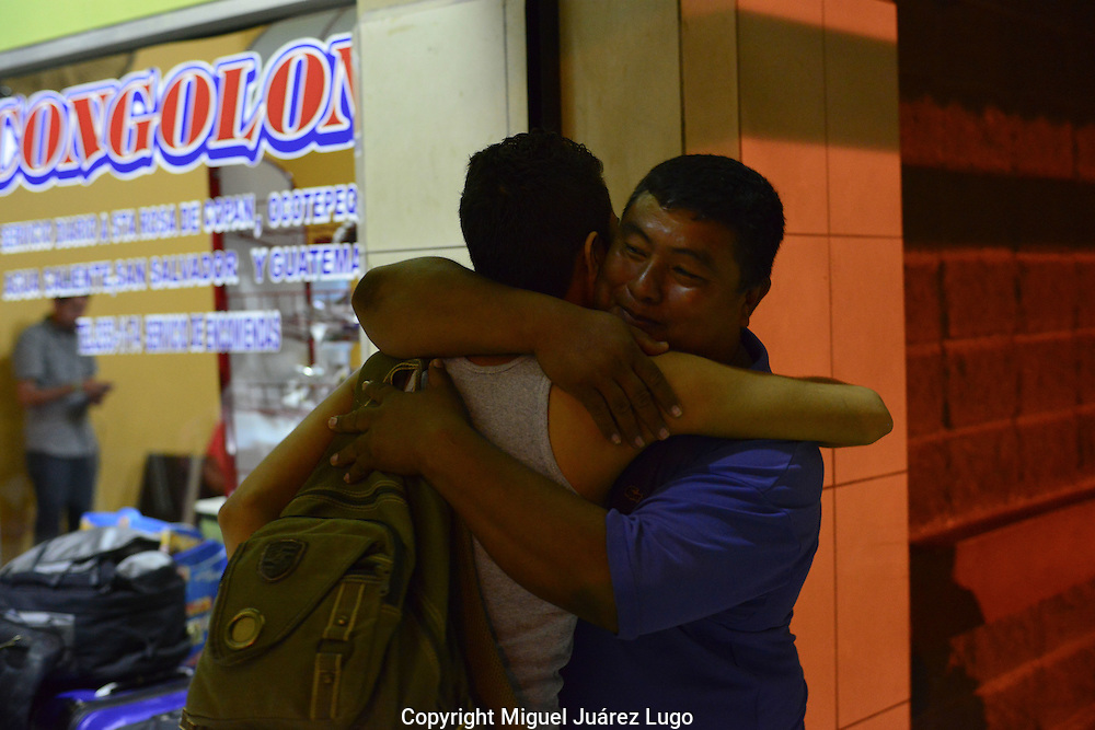 """Reynaldo Sr. hugs his only son goodbye. """"First my wife, then my daughters, and now Rey—it's very hard,"""" he said of watching the last of his family leave."""