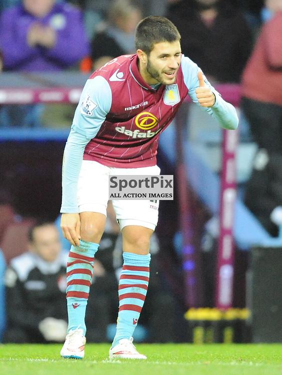 Villas Carlos Gil celebrates after scoring Villas First Goal, Aston Villa v Bournemouth, FA Cup 4th Round, Villa Park, Sunday 25th January 2015