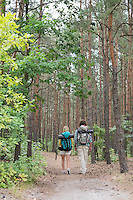 Rear view of hiking couple walking in forest