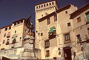 SPAIN, CASTILE, SEGOVIA Plaza San Martin, Juan Bravo statue