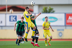 Matija Sirok of NK Domzale and Dominik Radic of NK Rudar during football match between NK Domzale and NK Rudar in Round #28 of Prva liga Telekom Slovenije 2017/18, on April 22, 2018 in Sports Park Domzale, Domzale, Slovenia. Photo by Urban Urbanc / Sportida