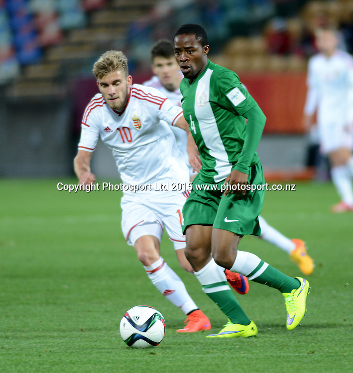 Nigeria's Akinjide Idowu challenged by Hungary's Mario Nemeth during the FIFA U-20 World Cup New Zealand. Hungary vs Nigeria, played at Stadium Taranaki, New Plymouth NZ, Sunday 7th June 2015.  <br />  Photo John Velvin / ESPNZ