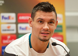 LIVERPOOL, ENGLAND - Wednesday, November 25, 2015: Liverpool's Dejan Lovren during a press conference at Melwood Training Ground ahead of the UEFA Europa League Group Stage Group B match against FC Girondins de Bordeaux. (Pic by David Rawcliffe/Propaganda)