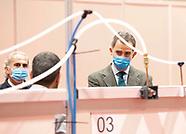 032620 King Felipe visit flied hospital at IFEMA