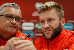 October 4, 2017 - Yerevan, Armenia - Polish national soccer team head coach Adam Nawalka and player Jakub Blaszczykowski  attend a press conference in Yerevan, Armenia, 04 October 2017. Poland will face Armenia in the FIFA World Cup 2018 qualifying soccer match on 05 October 2017. (Credit Image: © Foto Olimpik/NurPhoto via ZUMA Press)